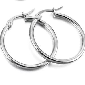 NEW Stainless Steel Small Round Hoop Earrings